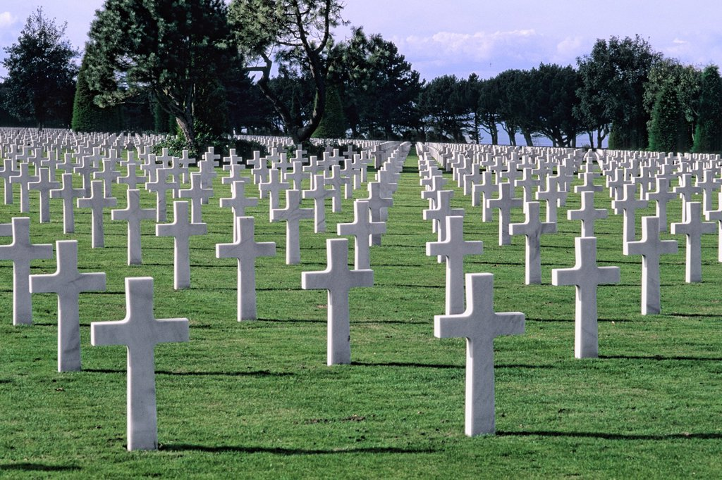 Stock Photo: 1566-1195295 graves of the heroes at Omaha Beach Memorial in Normandy France