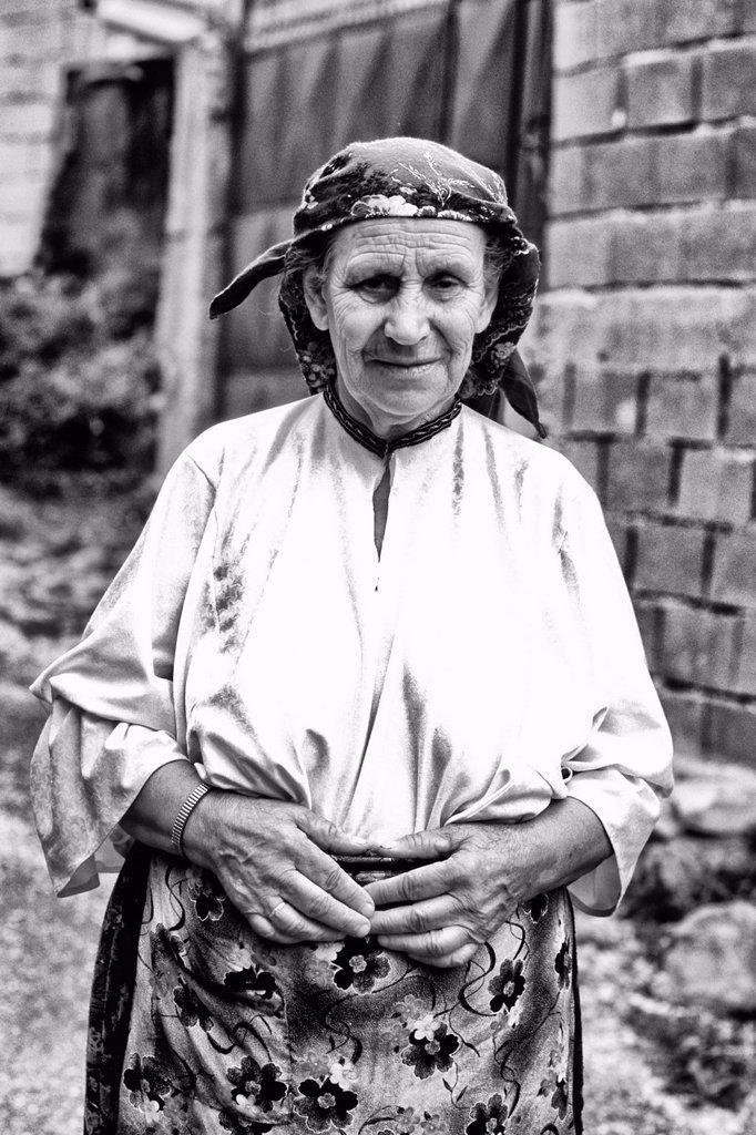 Woman in colorful clothes in Albania near Tirana : Stock Photo
