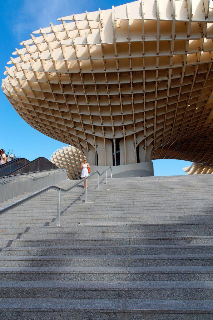 Sevilla Spain  Metropol Parasol in the square of the Encarnacion in Seville : Stock Photo