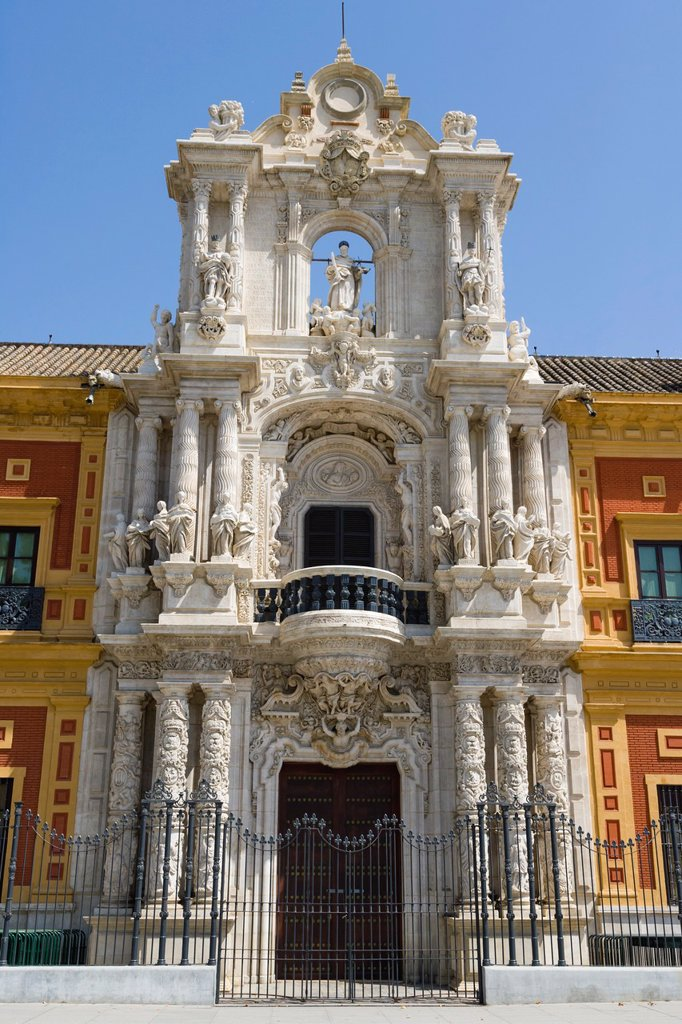 Stock Photo: 1566-1198053 The Palace of San Telmo, Palacio de San Telmo, the seat of the presidency of the Andalusian Autonomous Government, Seville, Sevilla, Andalusia, Spain