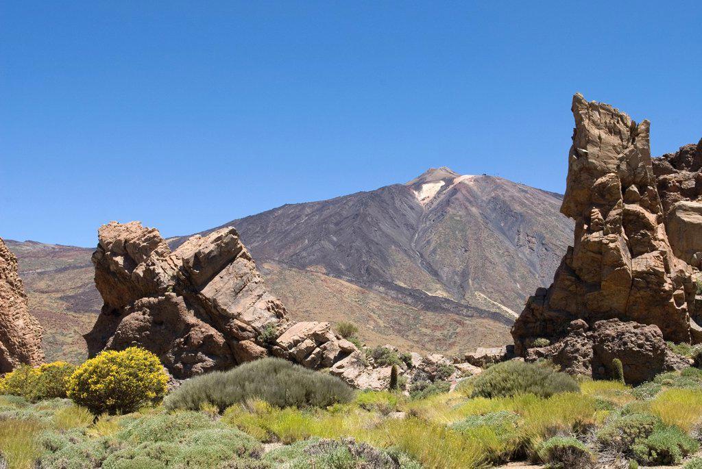 Roques de Garcia, Caldeira de las Canadas, Mount Teide, National Park, Tenerife, Canary Islands, Atlantic Ocean : Stock Photo