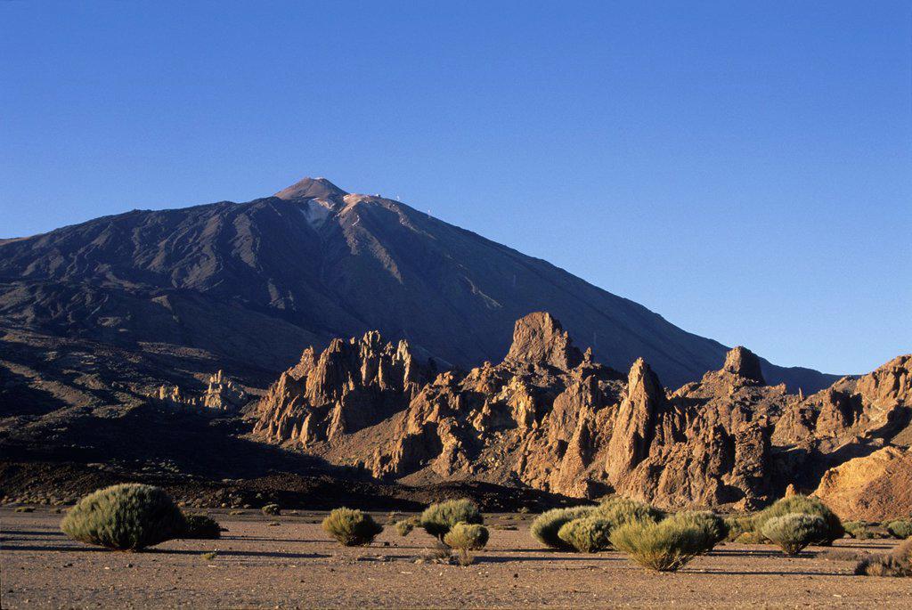 Stock Photo: 1566-1198089 Roques de Garcia, Caldeira de las Canadas, Mount Teide, National Park, Tenerife, Canary Islands, Atlantic Ocean