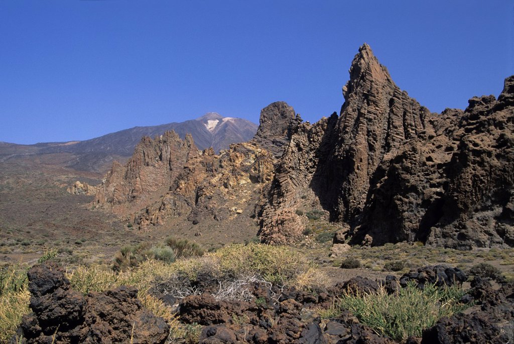 Stock Photo: 1566-1198091 Roques de Garcia, Caldeira de las Canadas, Mount Teide, National Park, Tenerife, Canary Islands, Atlantic Ocean