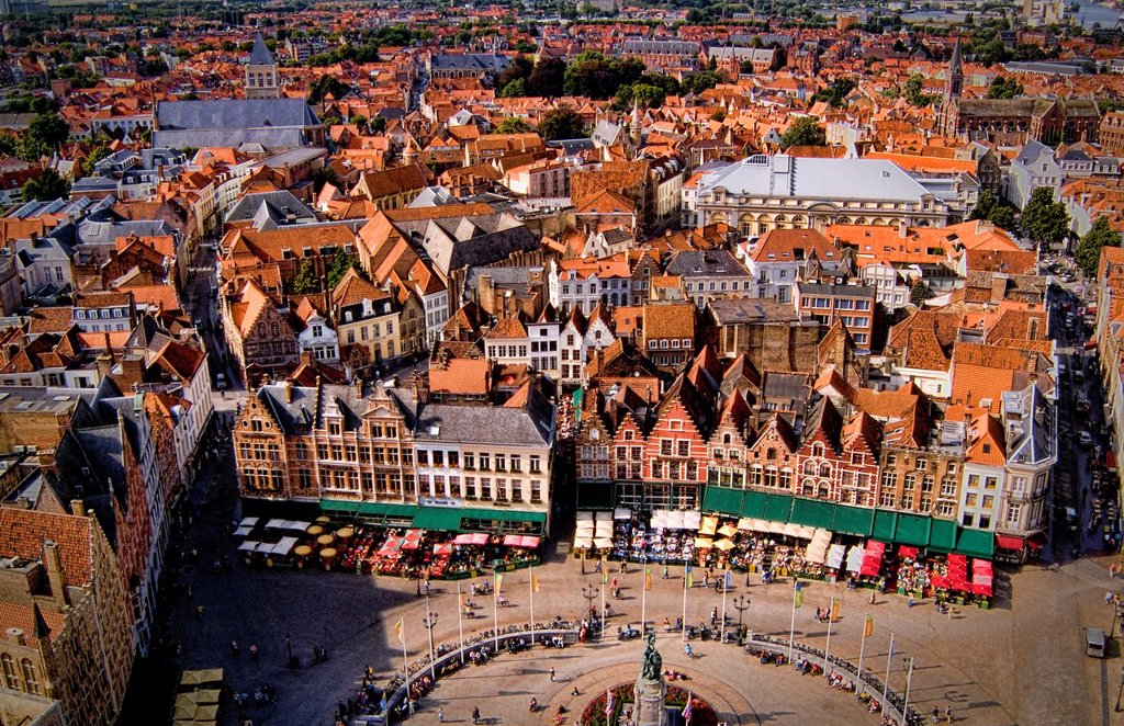 Belgium Market Place in center cafes taken from Belfort 337 steps above center in the colorful city of Bruges : Stock Photo