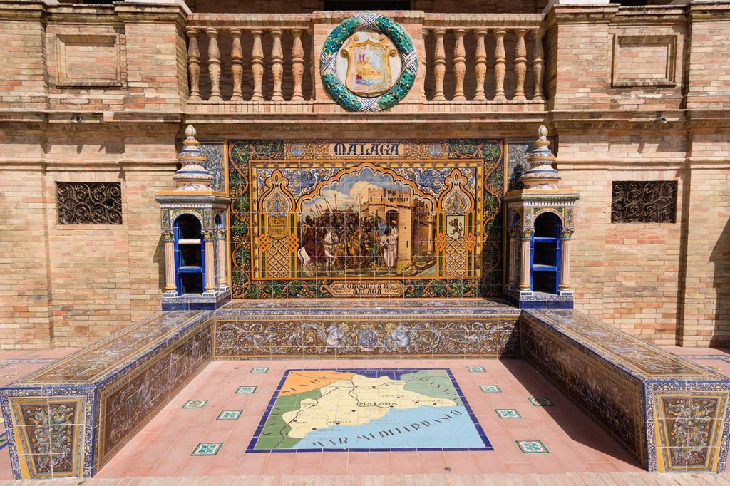 Stock Photo: 1566-1198472 One of the tiled Province Alcoves along the walls of The Plaza de Espana , Spain Square, The Maria Luisa Park,Parque de Maria Luisa, Seville, Sevilla, Andalusia, Spain