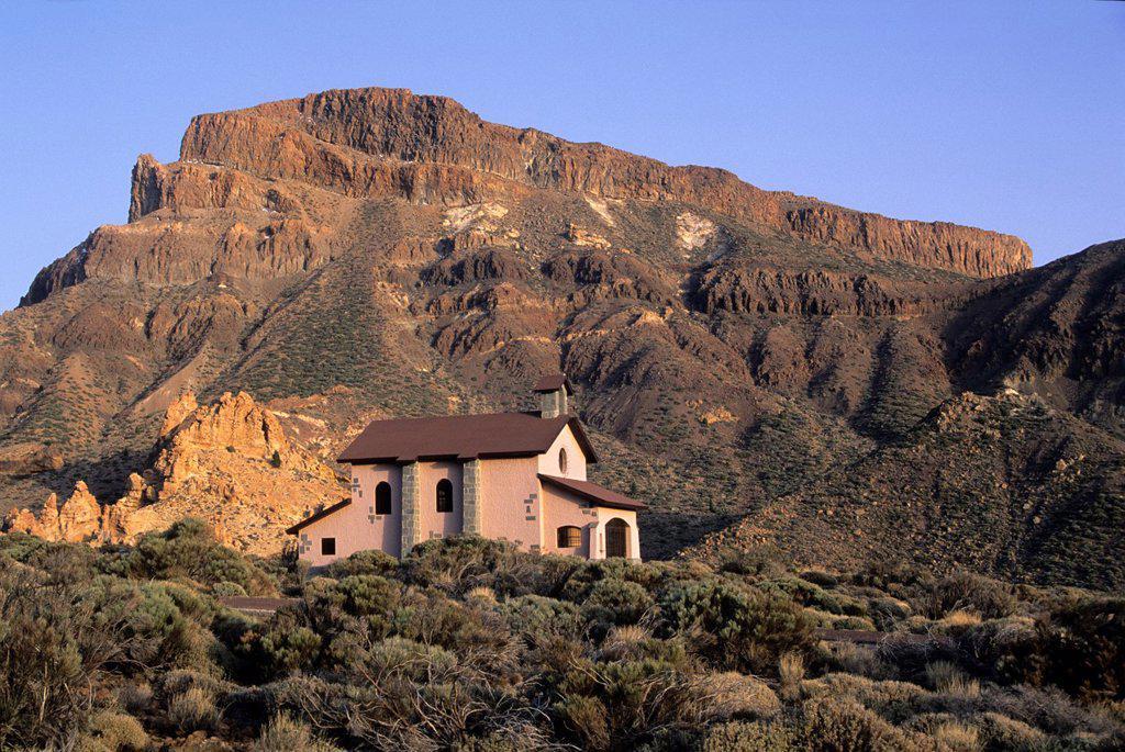 Stock Photo: 1566-1198505 chapel, Caldeira de las Canadas, Mount Teide, National Park, Tenerife, Canary Islands, Atlantic Ocean