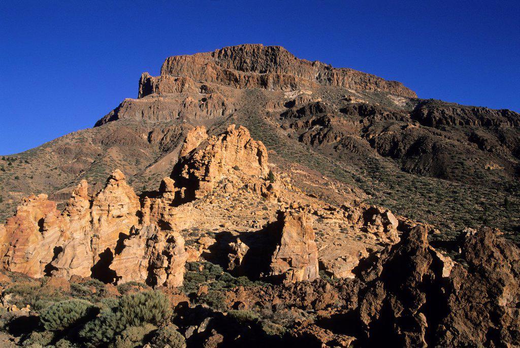 Stock Photo: 1566-1198507 Roques de Garcia, Caldeira de las Canadas, Mount Teide, National Park, Tenerife, Canary Islands, Atlantic Ocean