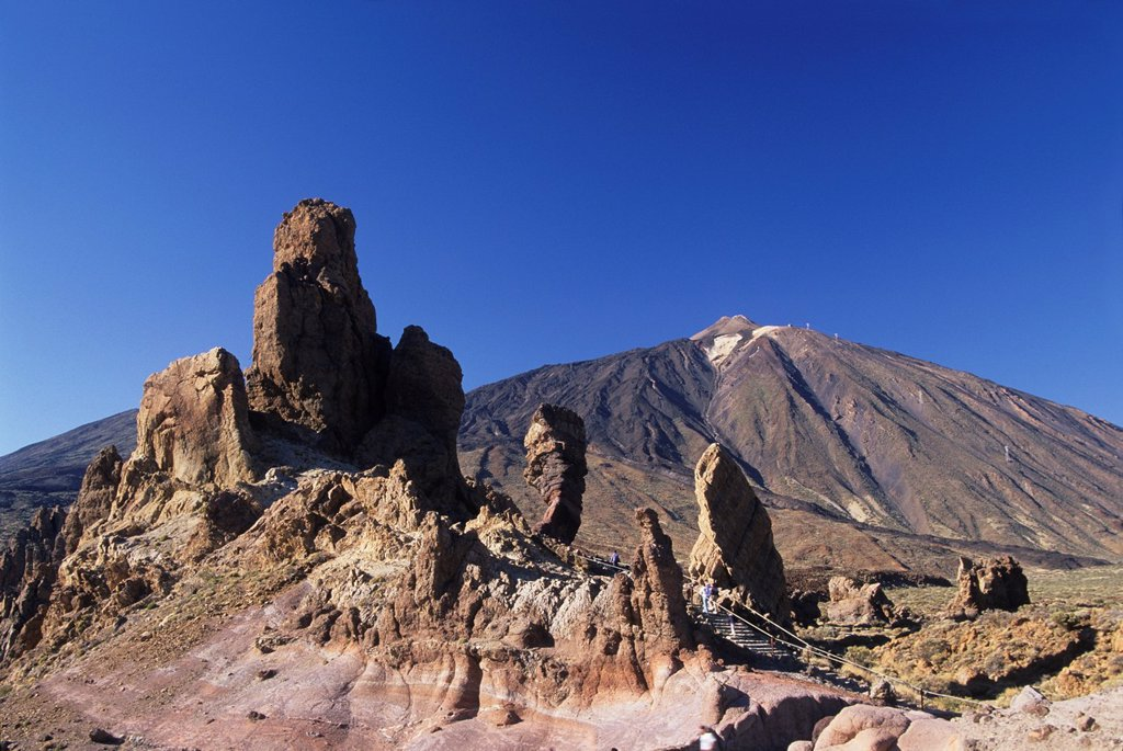 Stock Photo: 1566-1198516 Roques de Garcia, Caldeira de las Canadas, Mount Teide, National Park, Tenerife, Canary Islands, Atlantic Ocean