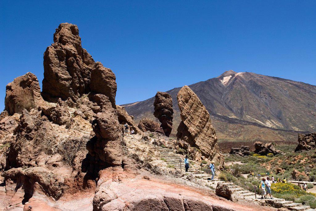 Stock Photo: 1566-1198814 Roques de Garcia, Caldeira de las Canadas, Mount Teide, National Park, Tenerife, Canary Islands, Atlantic Ocean