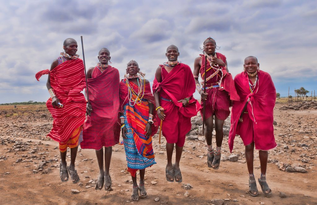 Stock Photo: 1566-1199688 Kenya Africa Amboseli Masai men in red costume dress and beads in Amboseli National Park safari 1