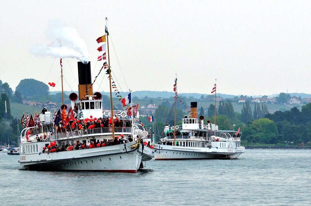 Stock Photo: 1566-1199997 Steamboat Parade, Morges, Lake Geneva, Switzerland, balloons, people, celebration