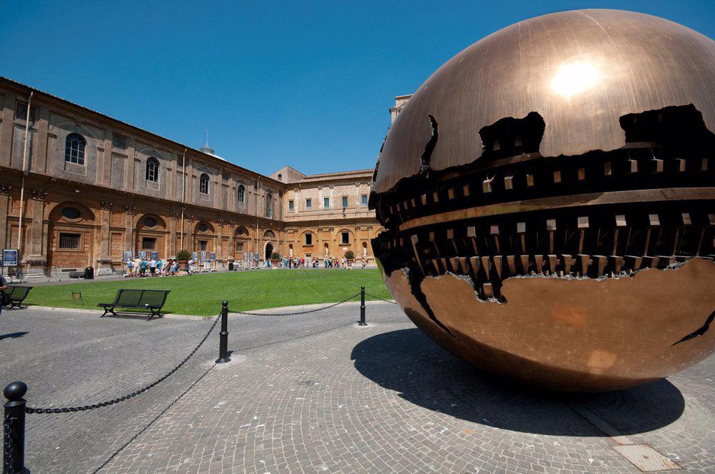 Italy, Lazio, Rome, Vatican, Musei Vaticani, Cortile della Pigna, the Sfera By Arnaldo Pomodoro Artist : Stock Photo