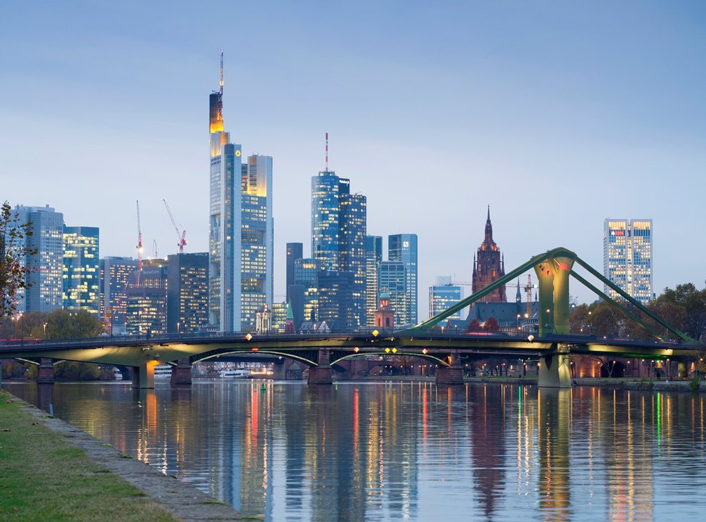 Stock Photo: 1566-1201223 Evening view of skyline of Frankfurt financial district in Germany