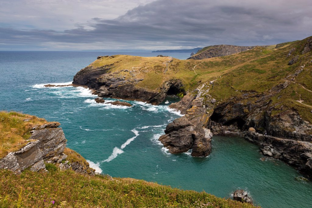 Stock Photo: 1566-1201342 Tintagel and the surrounding area. In legend it was King Arthur's Castle fortress and was believed to have been constructed around AD1140.