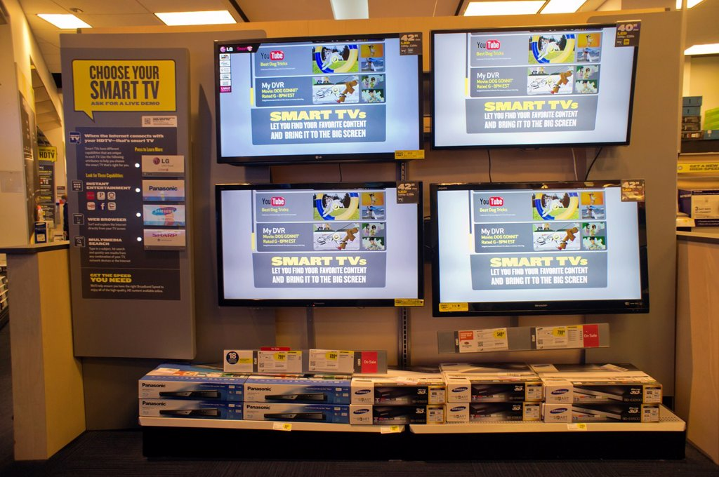 Stock Photo: 1566-1201385 'Smart TV' display in a Best Buy electronics store in New York