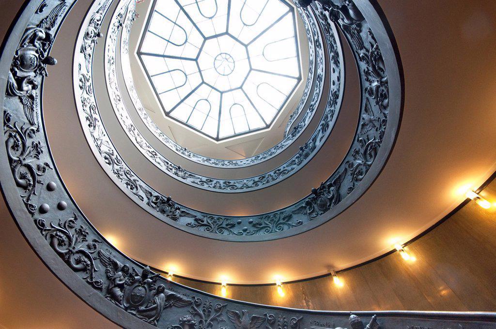 Italy, Lazio, Rome, Vatican, Vatican Museum Spiral Staircase By Giuseppe Momo : Stock Photo