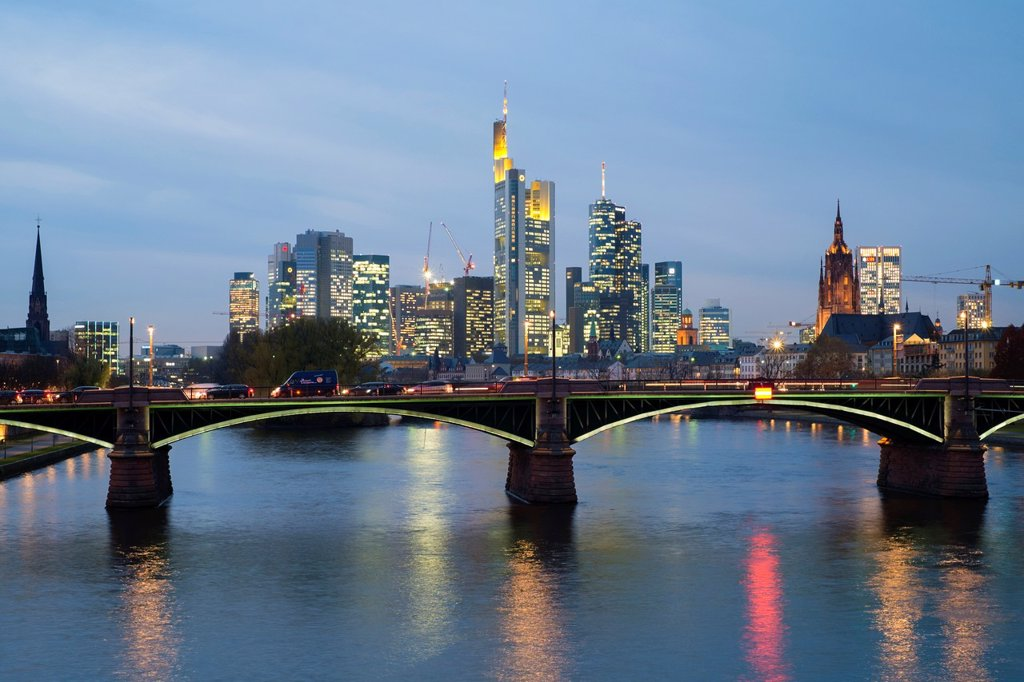 Evening view of skyline of Frankfurt financial district in Germany : Stock Photo
