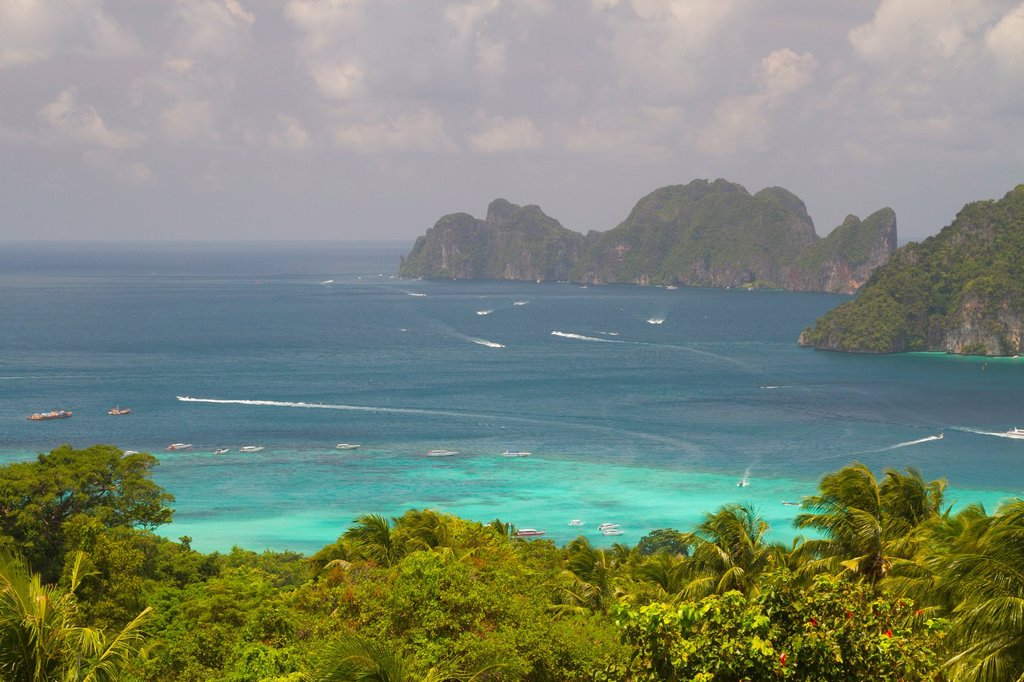 Stock Photo: 1566-1202131 Phi Phi Leh island from a viewpoint in Phi Phi Don island  Krabi province, Andaman Sea, Thailand