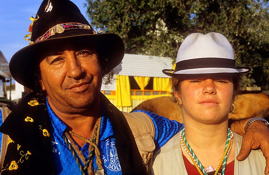 Stock Photo: 1566-1202192 Pilgrims, Juan Palacios with his daughter in Doñana Palace,Romeria del Rocio, pilgrims on their way through the Doñana National Park, pilgrimage of Sanlúcar de Barrameda brotherhood, to El Rocío, Almonte, Huelva province, Andalucia