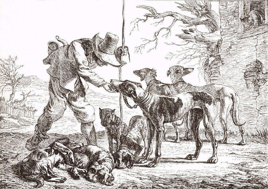 Les Chiens by Pieter van Laer  A hunter with his hounds  From Histoire des Peintres de Toutes les Écoles, École Hollandaise, published 1863 : Stock Photo