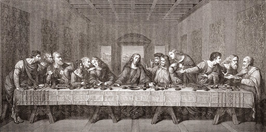 The Last Supper after Leonardo da Vinci  From Histoire des Peintres, École Florentine, published 1876 : Stock Photo