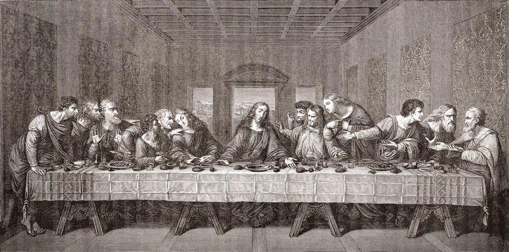 Stock Photo: 1566-1202249 The Last Supper after Leonardo da Vinci  From Histoire des Peintres, École Florentine, published 1876