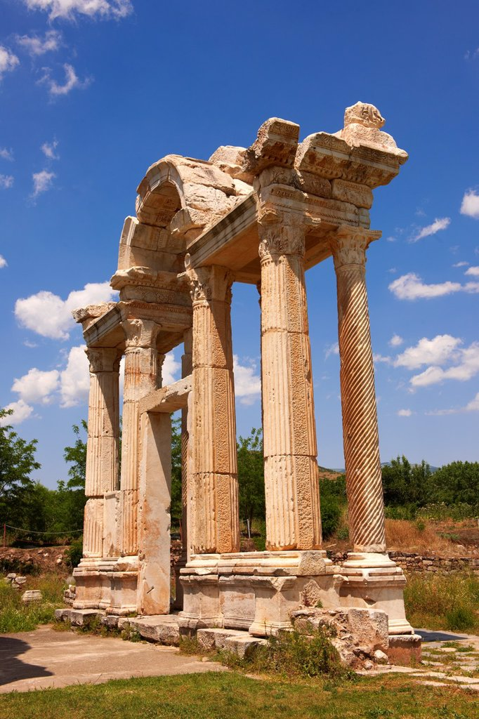 Stock Photo: 1566-1202257 Double Tetrapylon Gate, Aphrodisias, Turkey A tetrapylon ´four gates´ is an ancient type of Roman monument of cubic shape, with a gate on each of the four sides: generally it was built on a crossroads
