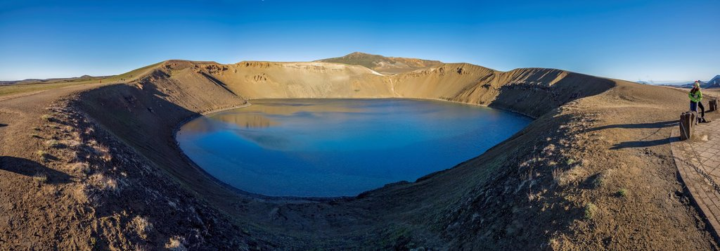 Stock Photo: 1566-1202374 Viti, a huge explosion crater, Northern Iceland On March 29, 1875, a violent eruption in the Dyngjufjoll mountains finally marked the end of the Askja eruptions  This explosive eruption formed the crater Viti, north of Askja Lake
