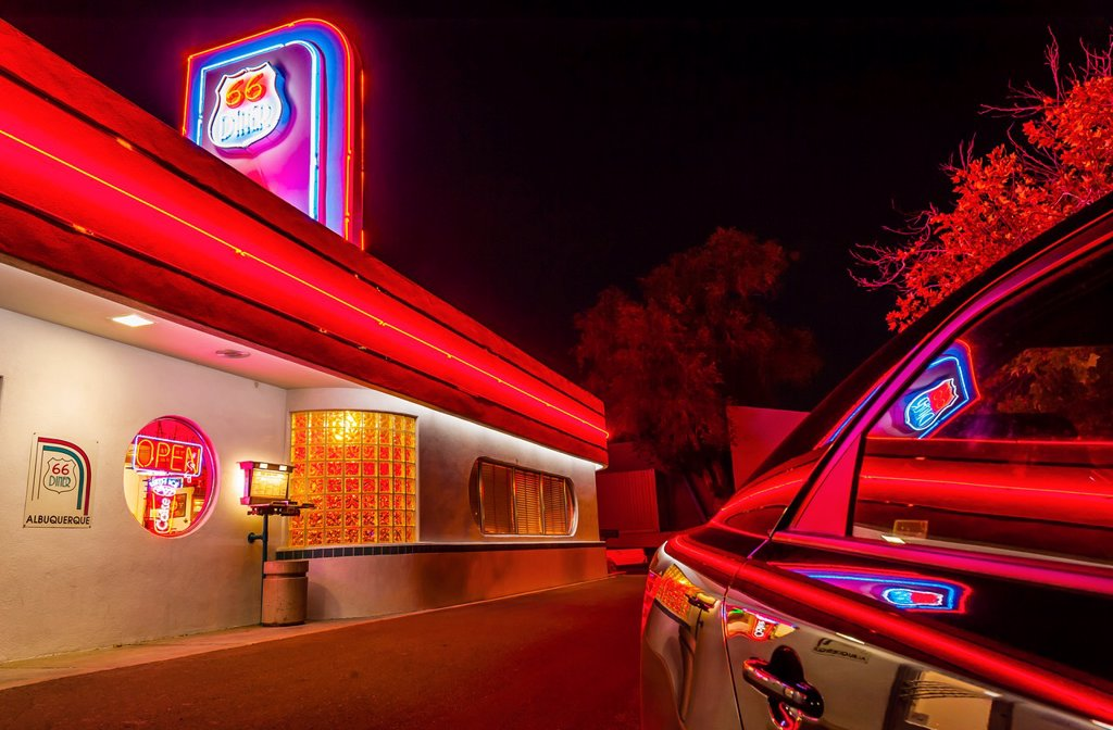 Stock Photo: 1566-1202460 66 Diner, Central Avenue Historic Route 66, Albuquerque, New Mexico USA