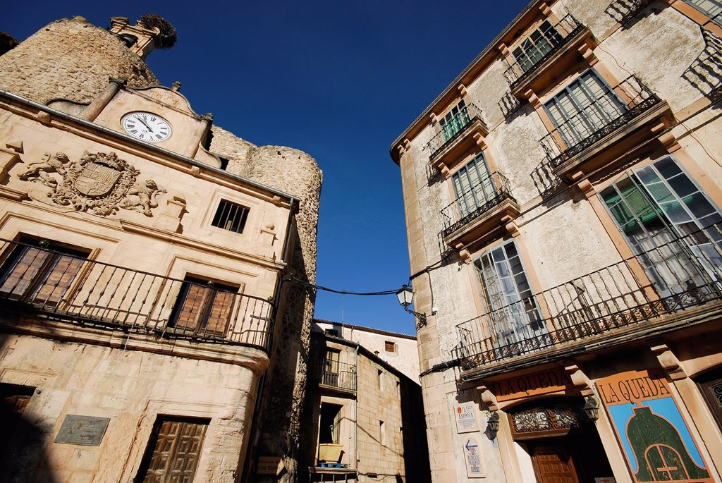 Stock Photo: 1566-1202480 Main square of Sepulveda, Segovia province, Spain