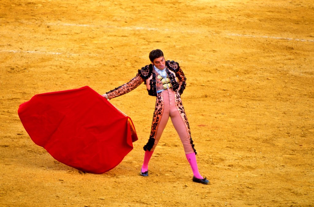 Bullfighter  Bullfight at the Plaza de Toros of `La Maestranza´, Seville, Andalusia, Spain, Europe : Stock Photo