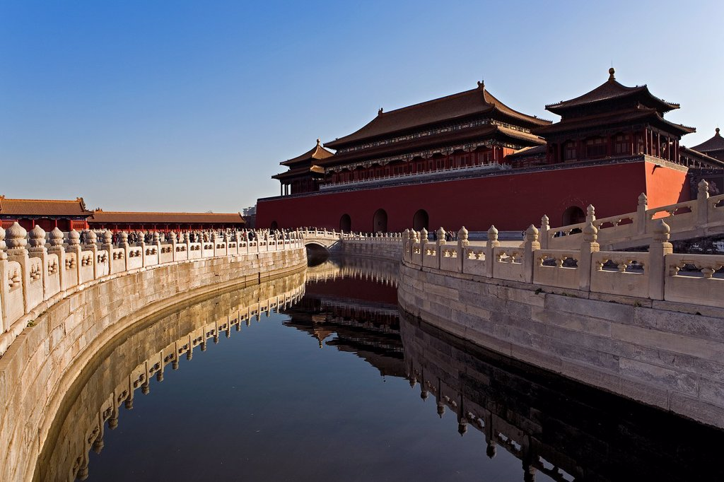 Stock Photo: 1566-1202678 Golden Water River and Wumen Gate  The Forbidden City,Beijing, China