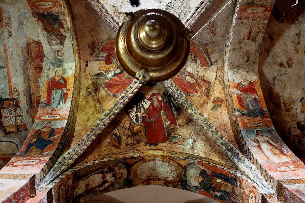 Stock Photo: 1566-1202682 Salardú  Sant Andrèu church  Interior  Paintings,Aran Valley,Pyrenees, Lleida province, Catalonia, Spain
