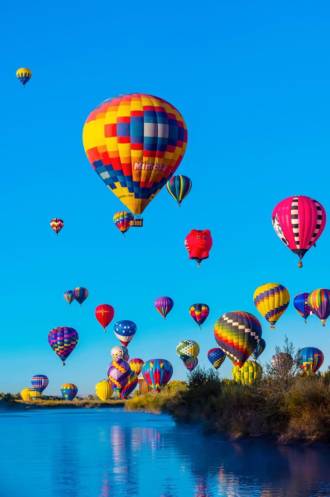 Stock Photo: 1566-1203066 Hot air balloons flying low over the Rio Grande River just after sunrise, Albuquerque International Balloon Fiesta, Albuquerque, New Mexico USA