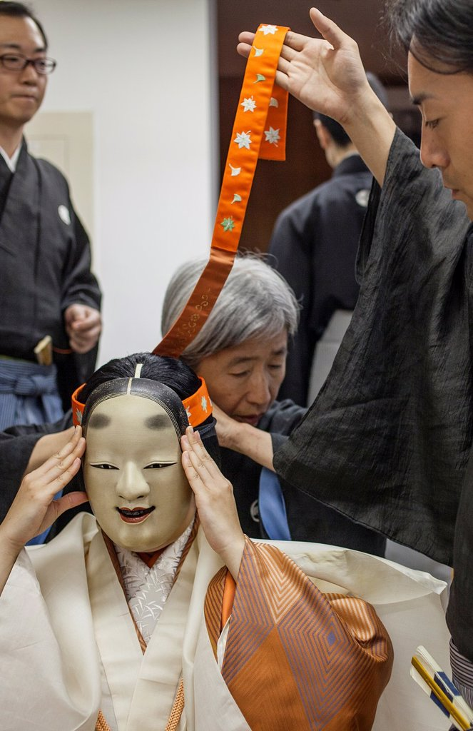 Stock Photo: 1566-1203203 Actors of noh, moments before the show started National Noh Theatre,4-18-1, Sendagaya, Shibuya-ku, Tokyo