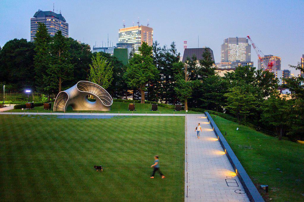 Stock Photo: 1566-1203208 Hinokicho park, in Tokyo midtown, roppongi, tokyo, japan