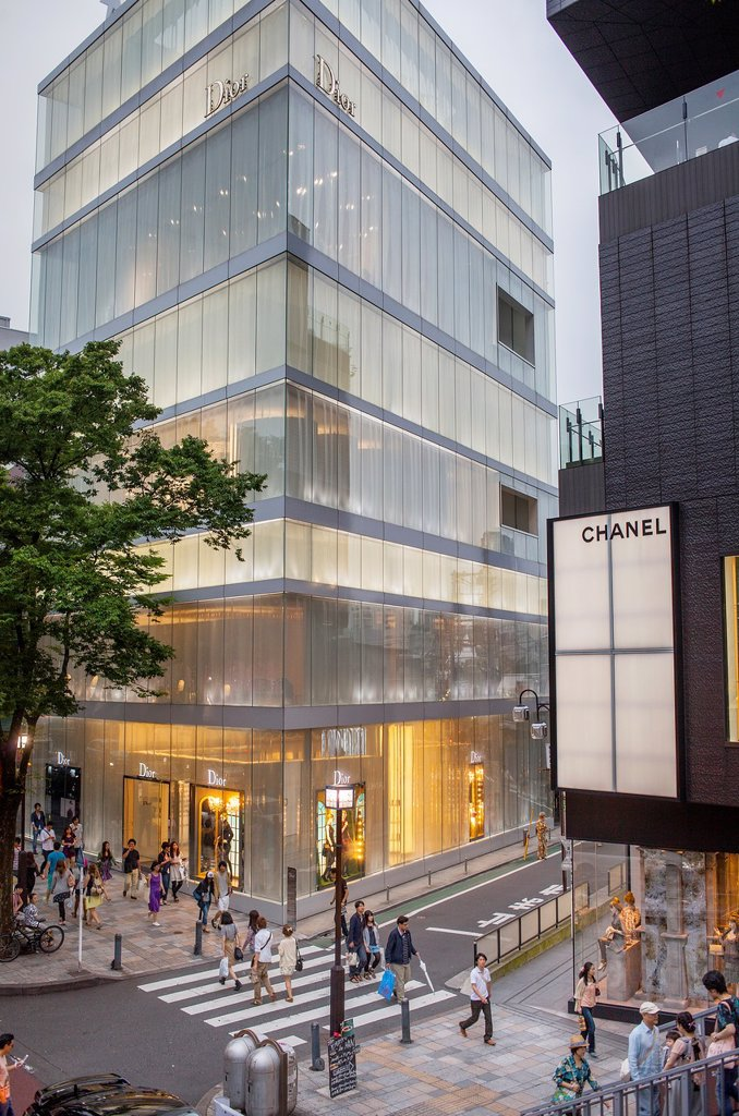 Stock Photo: 1566-1203226 Dior Store by SANAA Sejima y Nishikawa Architects & Associates  And Chanel Store,in Omotesando street, Tokyo, Japan