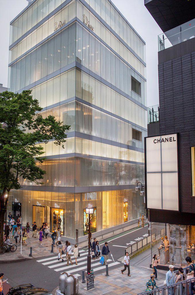 Dior Store by SANAA Sejima y Nishikawa Architects & Associates  And Chanel Store,in Omotesando street, Tokyo, Japan : Stock Photo