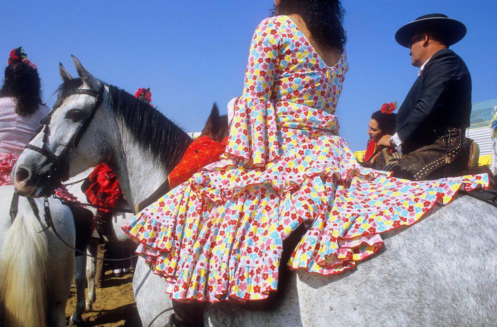 Pilgrims in Punta de Malandar,Romeria del Rocio, pilgrims on their way through the Doñana National Park, pilgrimage of Sanlúcar de Barrameda brotherhood, to El Rocío, Almonte, Huelva province, Andalucia : Stock Photo