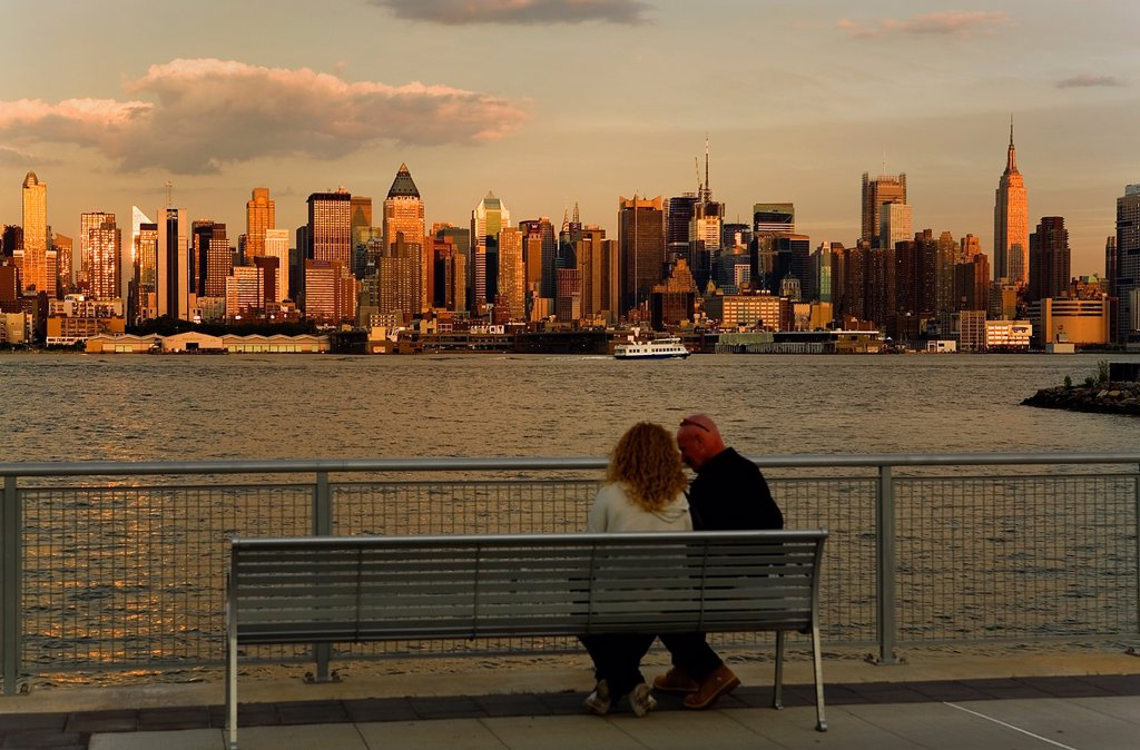 Stock Photo: 1566-1203301 Midtown, skyline of Manhattan across Hudson River from New Jersey, New York City, USA