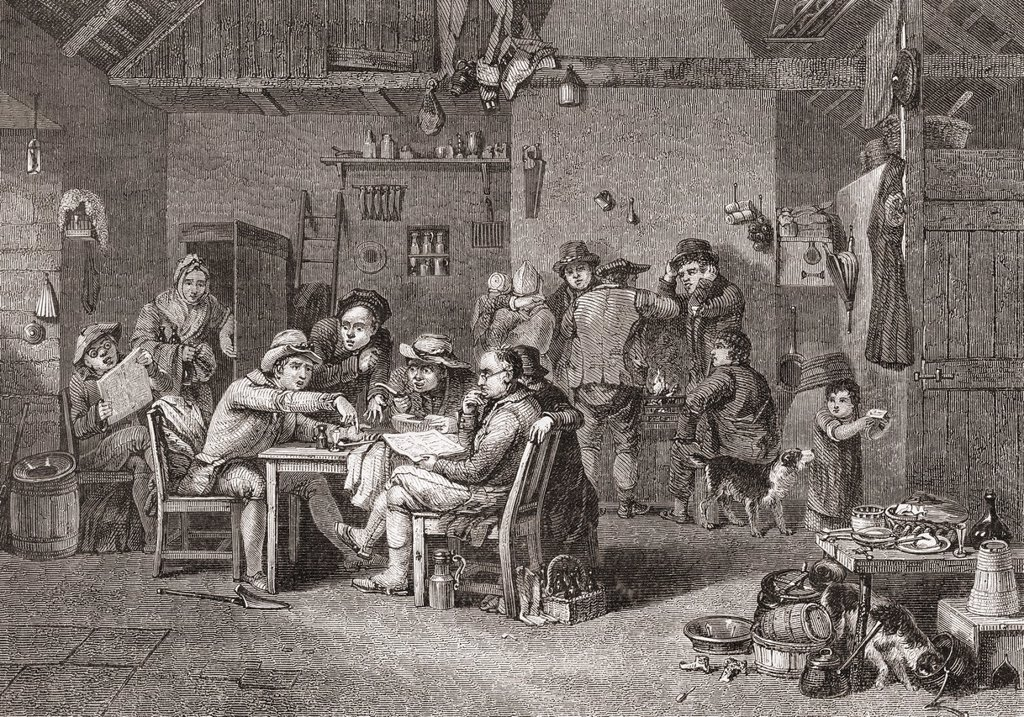 The Village Politicians after Sir David Wilkie  From Histoire des Peintres, École Anglaise, published 1867 : Stock Photo