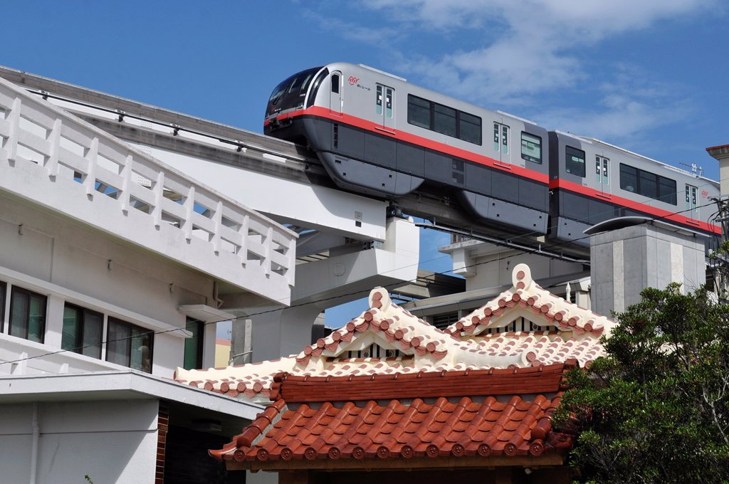Naha, Okinawa, Japan, the Urban Monorail-Yui Rail : Stock Photo