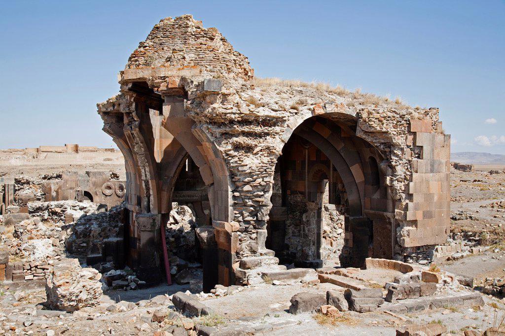 Stock Photo: 1566-1204900 caravansary or church of apostles, ani ruins, kars area, north-eastern anatolia, turkey, asia