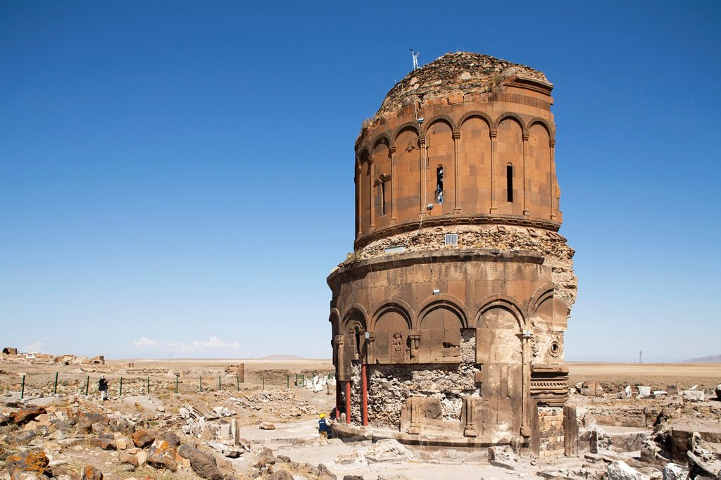 Stock Photo: 1566-1204901 church of the redeemer or church of st prkitch, ani ruins, kars area, north-eastern anatolia, turkey, asia