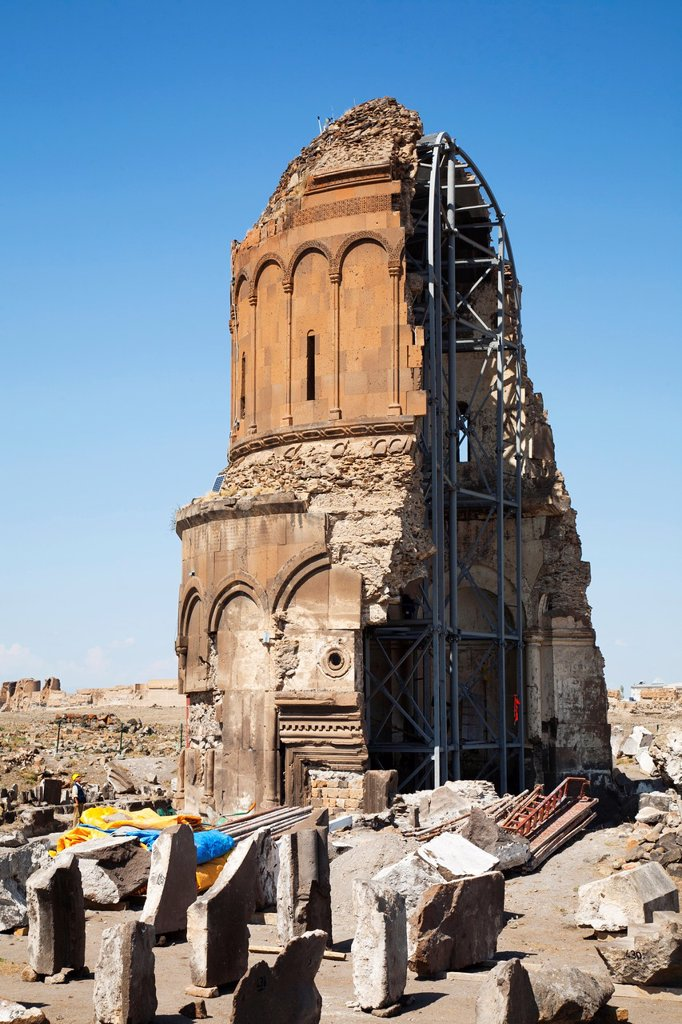 Stock Photo: 1566-1204904 church of the redeemer or church of st prkitch, ani ruins, kars area, north-eastern anatolia, turkey, asia