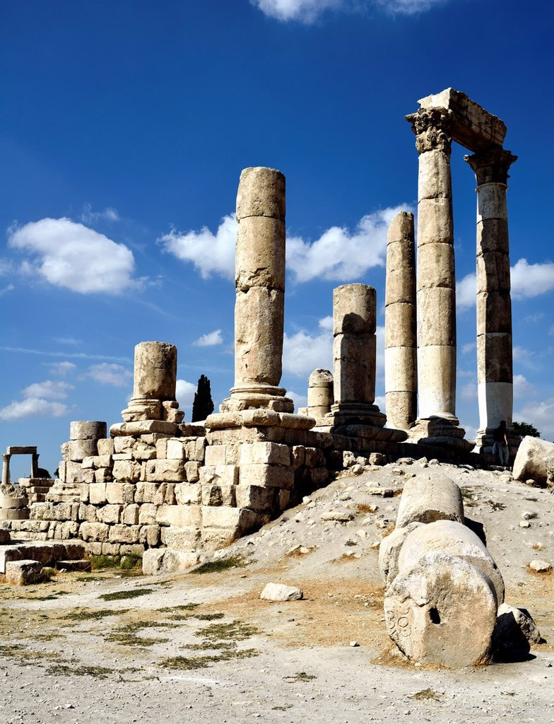 Stock Photo: 1566-1205073 Amman, Jordan  The Roman temple of Hercules at Jabal al-Qal´a, also called Amman Citadel  It is a national historic site at the center of downtown Amman, Jordan  Known in Arabic as Jabal al-Qal´a, the L-shaped hill is one of the seven jabals that original. Amman, Jordan  The Roman temple of Hercules at Jabal al-Qal´a, also called Amman Citadel  It is a national historic site at the center of downtown Amman, Jordan  Known in Arabic as Jabal al-Qal´a, the L-shaped hill is one of the seven jabals t