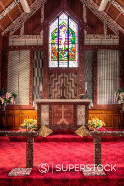 Stock Photo: 1566-1205241 Cultural Syncretism  Altar of St  Mary´s Anglican Church, Tikitiki, north island, New Zealand, built 1924-26 as a memorial to Maori soldiers who fought and died in World War I  Stained glass window shows Maori soldiers at the foot of Jesus on the cross  M. Cultural Syncretism  Altar of St  Mary´s Anglican Church, Tikitiki, north island, New Zealand, built 1924-26 as a memorial to Maori soldiers who fought and died in World War I  Stained glass window shows Maori soldiers at the foot of Jesus on