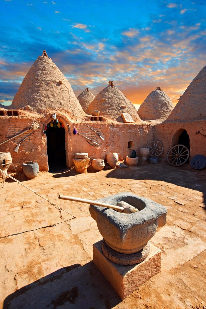 Pictures of the beehive adobe buildings of Harran, south west Anatolia, Turkey  Harran was a major ancient city in Upper Mesopotamia whose site is near the modern village of AltınbaÅak, Turkey, 24 miles 44 kilometers southeast of Åanlıurfa  The location. Pictures of the beehive adobe buildings of Harran, south west Anatolia, Turkey  Harran was a major ancient city in Upper Mesopotamia whose site is near the modern village of AltınbaÅak, Turkey, 24 miles 44 kilometers southeast of Åanlıurfa   : Stock Photo