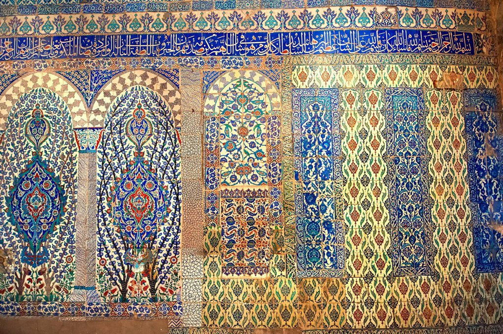 Decorative tiled panels of the Harem in the Topkapi Palace, Istanbul, Turkey : Stock Photo