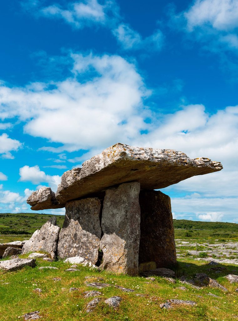Poulnabrone dolmen in the Burren area of County Clare, Republic of Ireland : Stock Photo